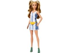Barbie FXL43 Fashionistas Puppe im Grafik Stil Kleid mit braunen Haaren und Sonnenbrille, Puppen Spielzeug ab 3 Jahren