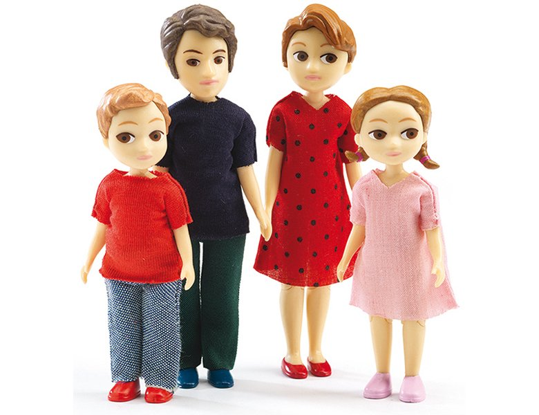 DJECO Biegepuppen Familie Thomas /& Marion mit Kindern für Puppenhaus