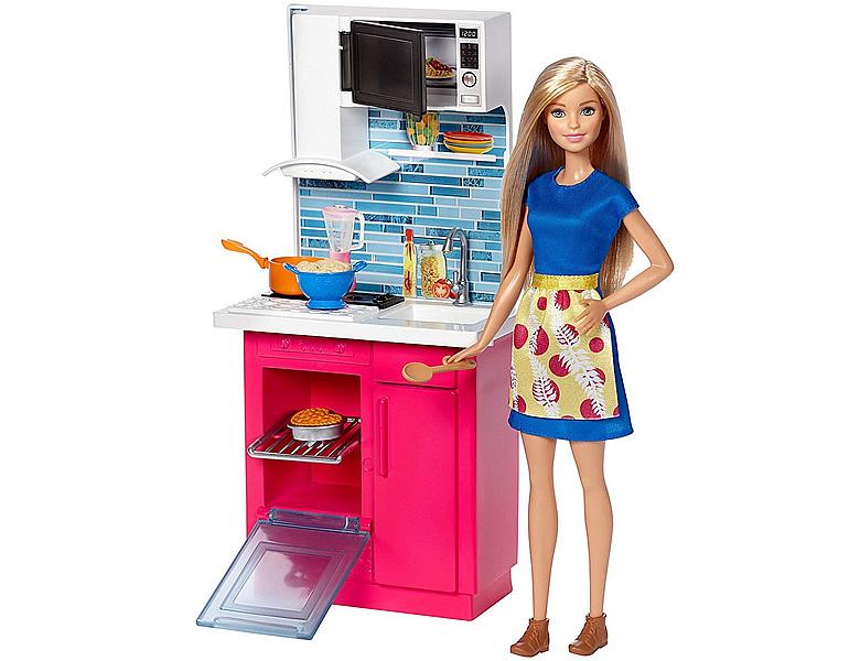barbie familie freunde deluxe set puppe k che modepuppen. Black Bedroom Furniture Sets. Home Design Ideas
