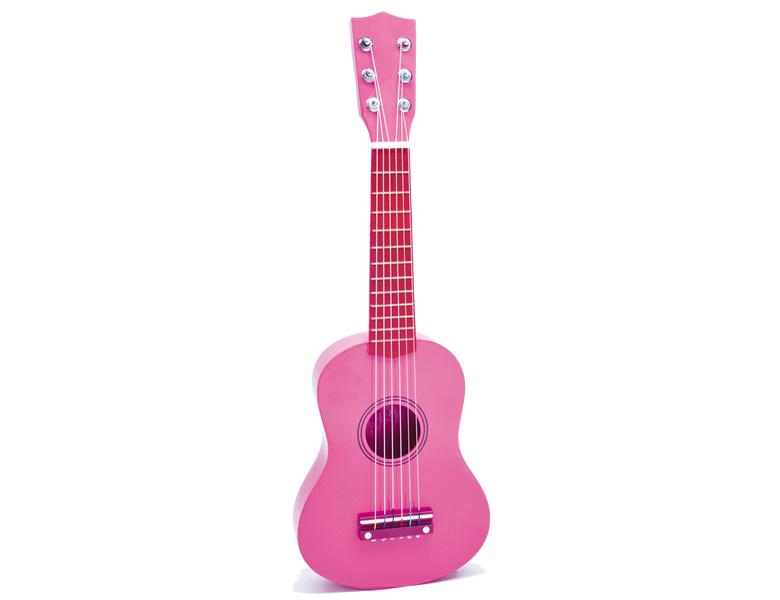 bontempi holz gitarre mit stickers pink saiteninstrumente. Black Bedroom Furniture Sets. Home Design Ideas