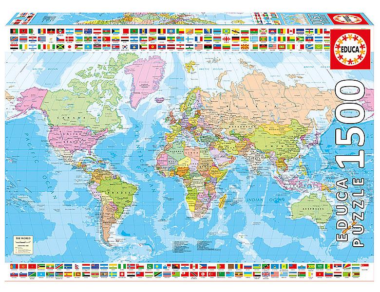 1500 Teile Puzzle Politische Weltkarte The World Puzzles & Geduldspiele