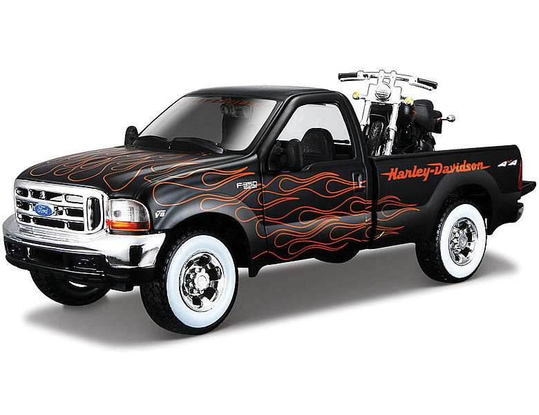 Maisto 1:24 Harley Davidson Ford 1999 F-350 & FXSTB 2002 Night Train | Die-Cast Modelle