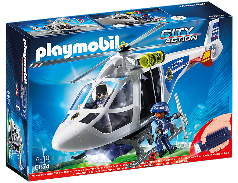 PLAYMOBIL City Action Polizei-Helikopter mit LED-Suchscheinwerfer 6874