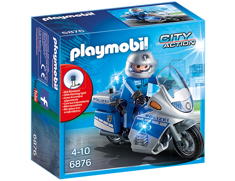 PLAYMOBIL City Action Motorradstreife mit LED-Blinklicht 6876