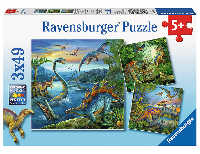 ravensburger puzzle faszination dinos 3x49 mehrfach puzzle. Black Bedroom Furniture Sets. Home Design Ideas