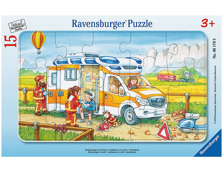ravensburger rahmenpuzzle krankenwagen im einsatz 15teile. Black Bedroom Furniture Sets. Home Design Ideas