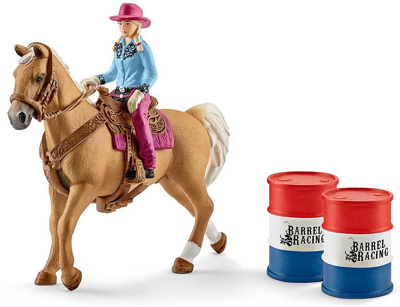 schleich farm world western fasslaufen mit cowgirl pferde. Black Bedroom Furniture Sets. Home Design Ideas
