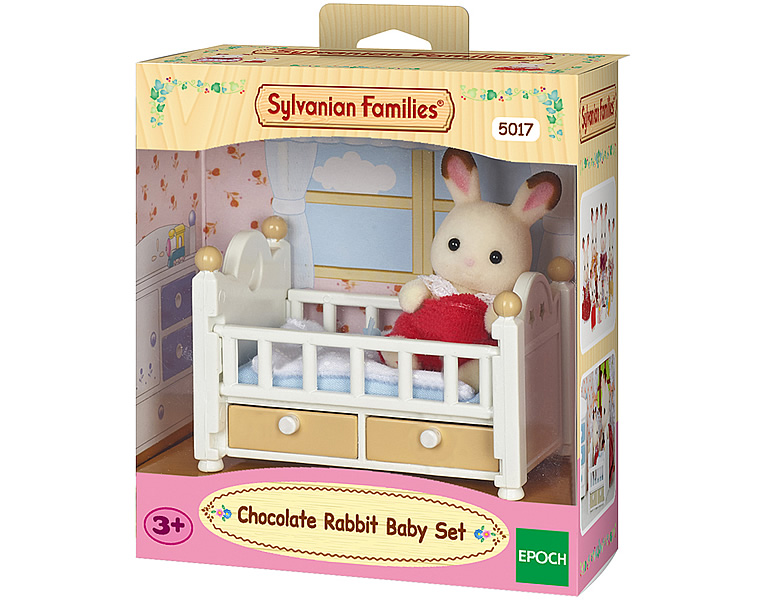 sylvanian families m bel sets schokoladenhasen baby mit babybett 5017. Black Bedroom Furniture Sets. Home Design Ideas